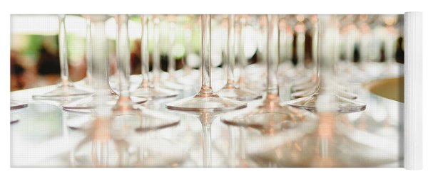 Group Of Empty Transparent Glasses Ready For A Party In A Bar. Yoga Mat