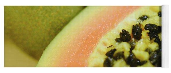 Group Of Fruits Papaya, Grape, Kiwi And Bananas Yoga Mat