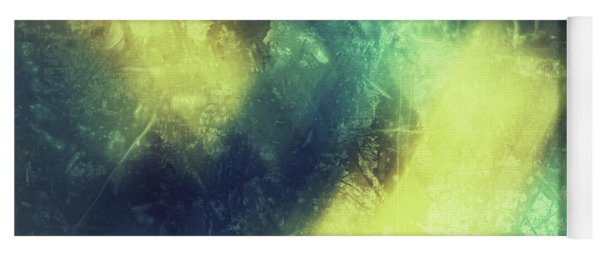 Grungy Colorful Watercolor Abstract Art With Muted Yellows, Blues And Greens Yoga Mat