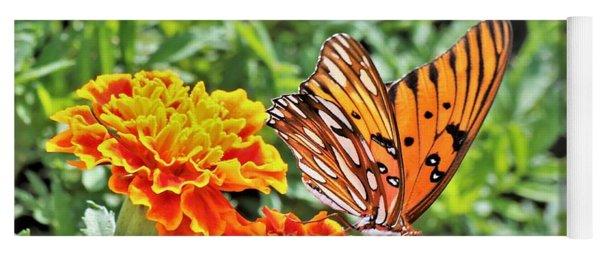 Gulf Fritillary On Orange Marigolds Yoga Mat
