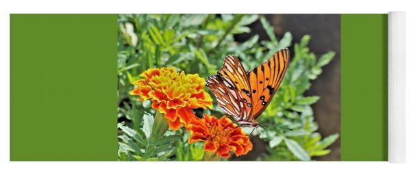 Gulf Fritillary On Orange Marigolds Yoga Mat