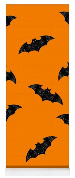 Yoga Mat featuring the mixed media Halloween Bats In Flight by Rachel Hannah