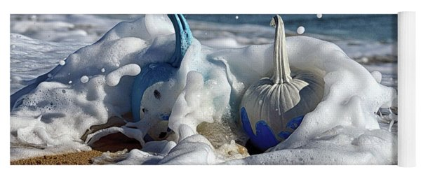 Yoga Mat featuring the photograph Halloween Blue And White Pumpkins In The Surf by Bill Swartwout Fine Art Photography