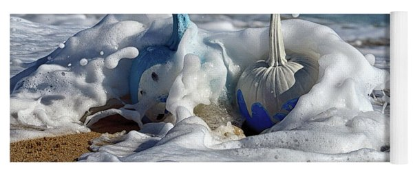 Halloween Blue And White Pumpkins In The Surf Yoga Mat