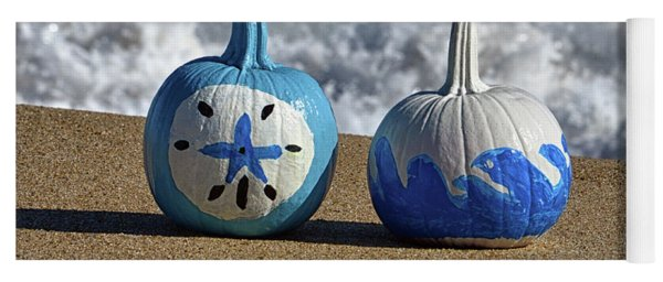 Yoga Mat featuring the photograph Halloween Blue And White Pumpkins On The Beach by Bill Swartwout Fine Art Photography