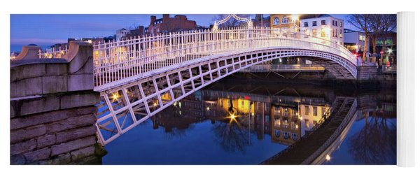 Yoga Mat featuring the photograph Ha'penny Bridge At Blue Hour by Barry O Carroll