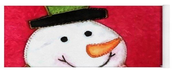 Happy Snowman Primitive Art Yoga Mat