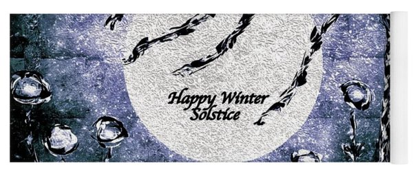Happy Winter Solstice Greeting Yoga Mat