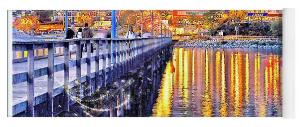 Harbor At Night White Rock British Columbia Canada Yoga Mat