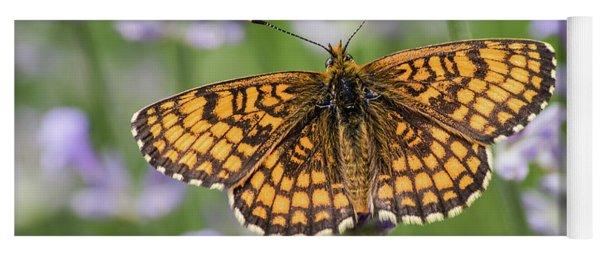 Heath Fritillary On The Lavender Yoga Mat