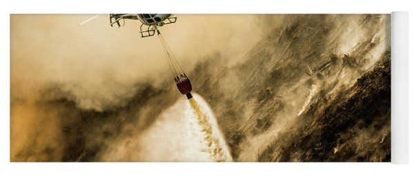 Helicopter Dropping Water On A Forest Fire Yoga Mat