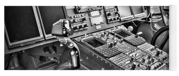 Helicopter Instrument Panel Of The Aw139 Black And White Yoga Mat