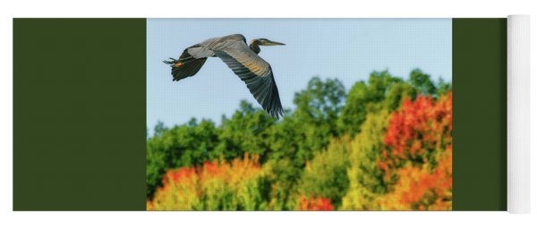 Heron In Autumn  Yoga Mat
