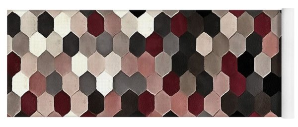 Hexagon Pattern In Gray And Burgundy Autumn Colors Yoga Mat