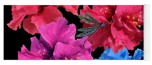 Hibiscus Dragonfly Yoga Mat