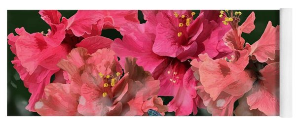 Hibiscus Flutterings With Dragons Yoga Mat
