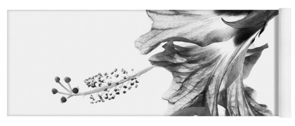 Hibiscus In Black And White Yoga Mat
