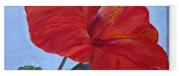 Yoga Mat featuring the painting Hibiscus by Mkc