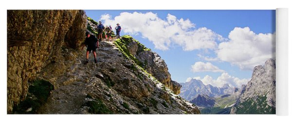 Hikers On Steep Trail Up Monte Piana Yoga Mat