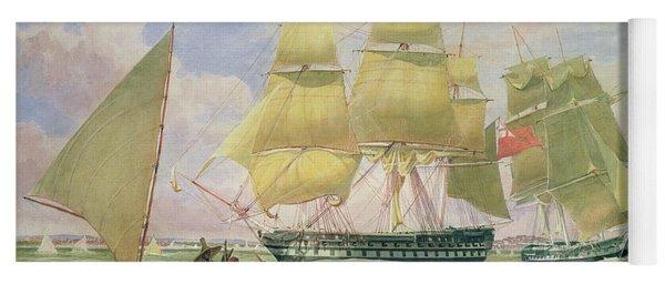 Hm Ships Ganges And Sapphire Off Pernambuco, 1829 Yoga Mat