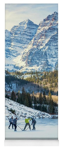 Hockey On Maroon Lake Maroon Bells Aspen Colorado Yoga Mat