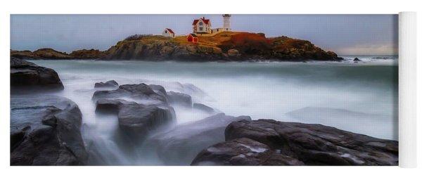Holiday Lights, Nubble Lighthouse York Me. Yoga Mat
