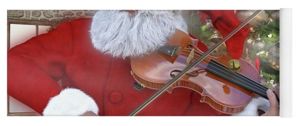 Holiday Santa Playing Violin Custom Yoga Mat