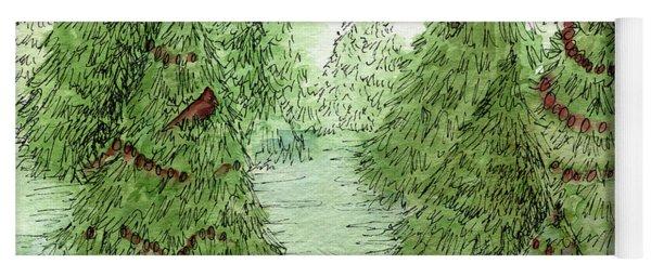 Holiday Trees Woodland Landscape Illustration Yoga Mat