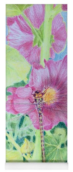 Hollyhock And Dragonfly Yoga Mat