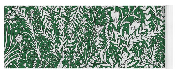 Horizontal Tapestry Design In Green With Flowers, Leaves And Small Butterflies Yoga Mat