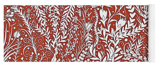 Horizontal Tapestry Design With Leaves And Flowers, Red And White Yoga Mat