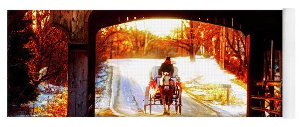 Horse Drawn Carriage Covered Bridge Long Grove Il 014060036 Yoga Mat