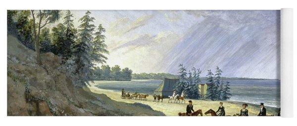 'horseriding Along The Baltic', 1810, Gouache On Paper. Yoga Mat