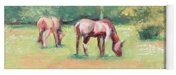 Horses In The Fields Yoga Mat