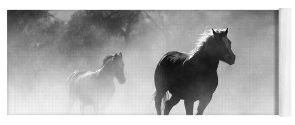 Horses On The Run Yoga Mat