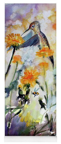 Yoga Mat featuring the painting Hummingbird And Dandelions by Ginette Callaway