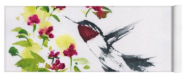 Hummingbird And Flowers Yoga Mat