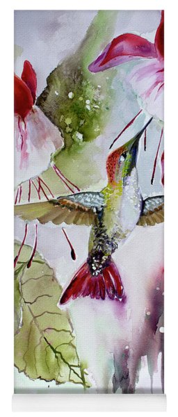 Hummingbird And Flowers Yoga Mat