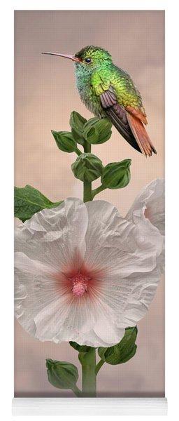 Hummingbird And Hollyhock Yoga Mat