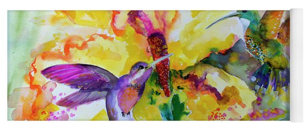 Yoga Mat featuring the painting Hummingbird Song Watercolor by Ginette Callaway