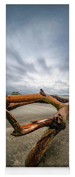 Hurricane Florence Beach Log - Portrait Yoga Mat