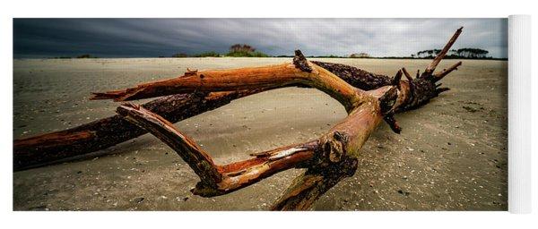 Hurricane Florence Morning Beach Log Yoga Mat