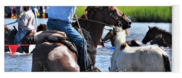 Hustling A Stray Wild Horse - Chincoteague Pony Run Yoga Mat