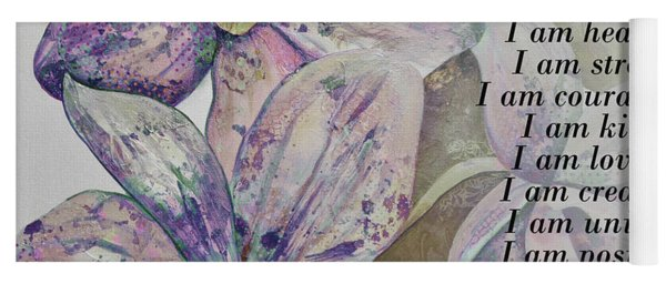 I Am...positive Affirmation Art In Lavendar And Rose Yoga Mat