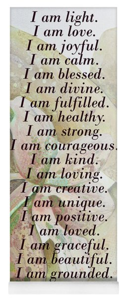 I Am...positive Affirmation In Coral And Green Yoga Mat