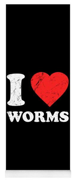 I Love Worms Yoga Mat