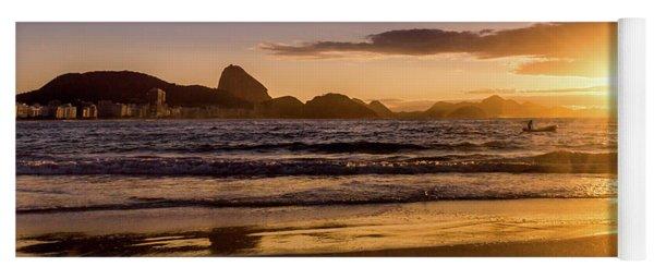 Idyllic Sunrise In Copacabana Beach In Rio De Janeiro, Brazil Yoga Mat