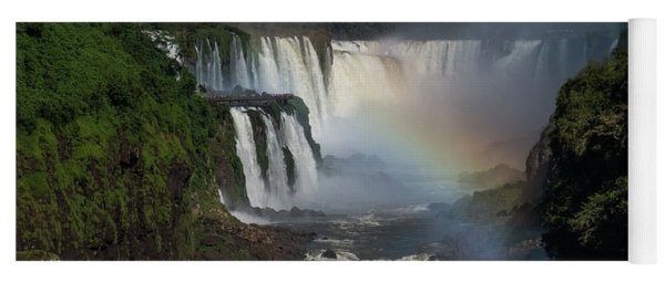Iguazu Falls With A Rainbow Yoga Mat