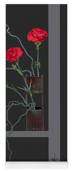 Red Carnations And Bamboo Vase Yoga Mat
