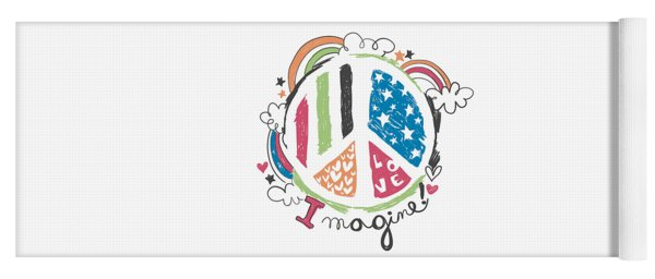 Imagine Love And Peace - Baby Room Nursery Art Poster Print Yoga Mat